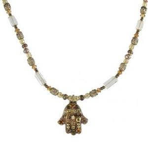 Small Gold Beaded Hamsa - Metal