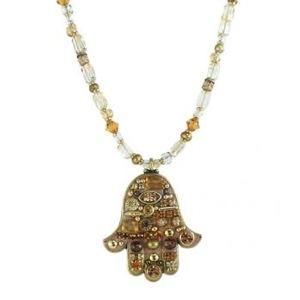 Large Gold Beaded Hamsa - Metal