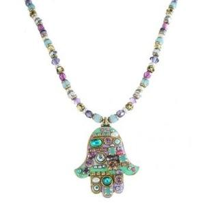 Large Pastel Beaded Hamsa - Metal