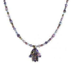 Purple Beaded Hamsa - Metal