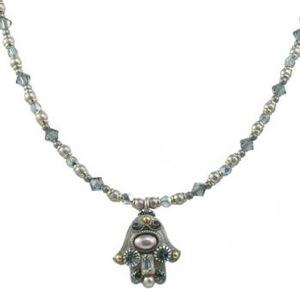 Gray Beaded Hamsa - Metal