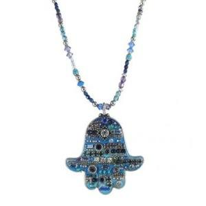 Extra Large Blue Beaded Hamsa - Metal