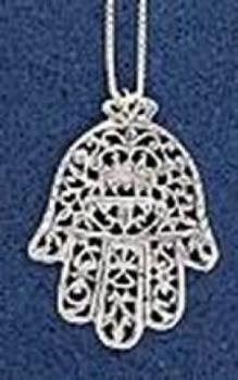 Filagree Hamsa Pendant - Sterling Silver
