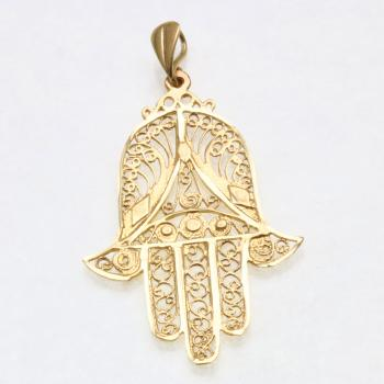 Filigree Hamsa - 14kt yellow gold