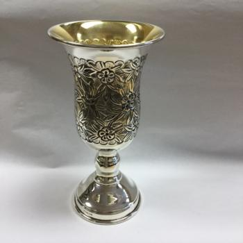 Rose Kiddush Cup - Sterling Silver