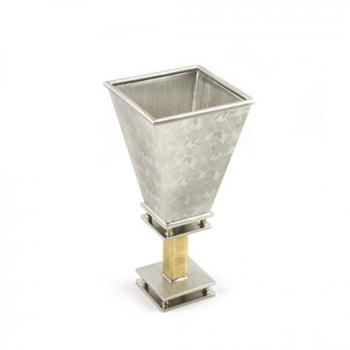 Square Kiddush Cup - Pewter and Brass