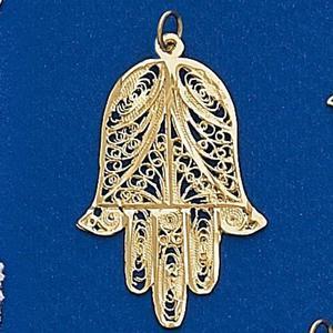 Gold Filagree Hamsa Pendant - Gold