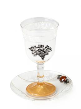White Glass Kiddush Goblet