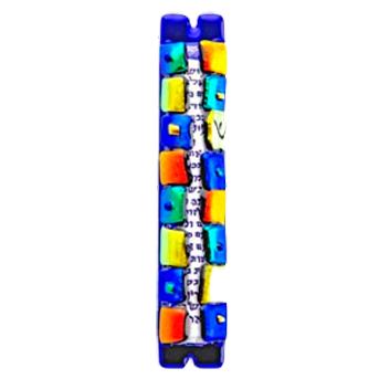 Multi colored Squares Mezuzah