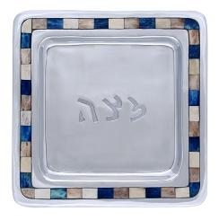 Matza Plate with Blue and White Tiles