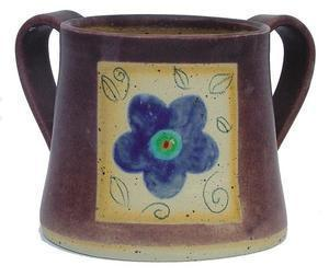 Eggplant Flower Handwashing Cup - Ceramic