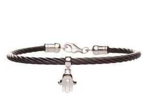 Hamsa Cable Bracelet - Sterling Silver