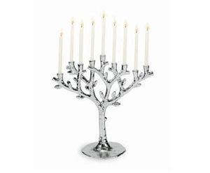 Tree of Life Menorah - Nickelplate