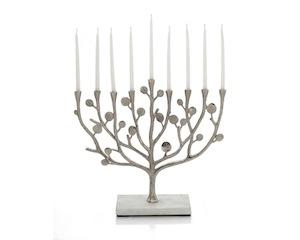 Botanical Leaf Menorah - Nickelplate and Marble