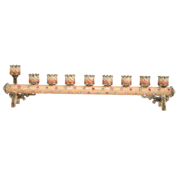 Pink Petite Cylindrical Menorah - Enamel and Pewter