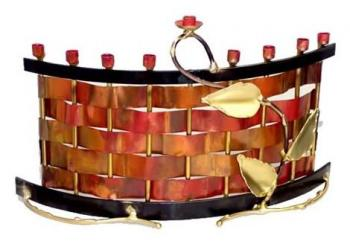 Woven Copper Chanukah Menorah A39
