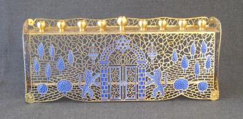 Jerusalem in Blue Menorah