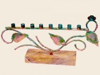 Tree of Life Menorah on Stand - Green Patina