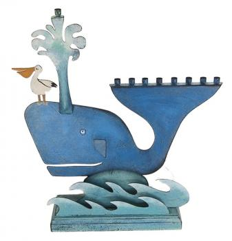 Whale Chanukah Menorah - Metal and Wood