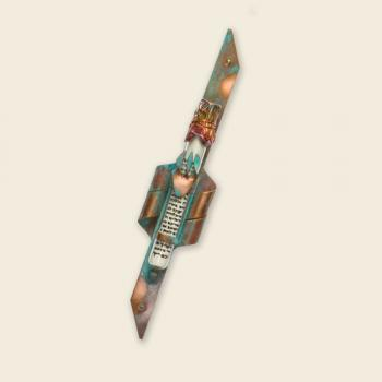 Copper Mezuzah Curled Edges Green Patina