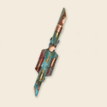 Copper Mezuzah with Metal Tube and Green Patina