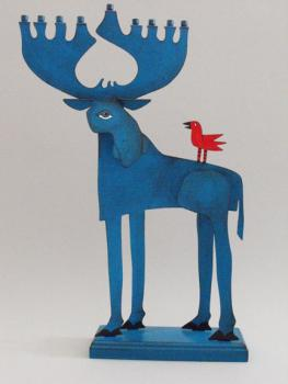 Moose Menorah - Metal and Wood