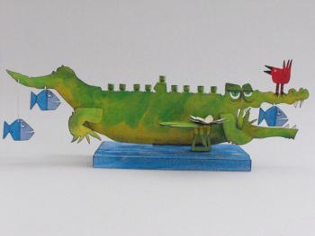 Crocodile Children's Hannukah Menorah -  Metal and Wood