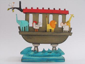 Noah's Ark Menorah - Metal and Wood