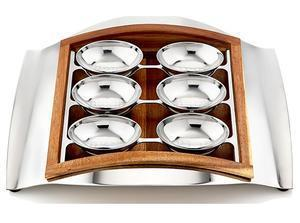 Wave Seder Plate - Stainless Steel and Wood
