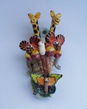 Noah's Ark Mezuzah - Painted Porcelain