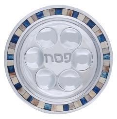 Seder Plate with Blue and White Tiles