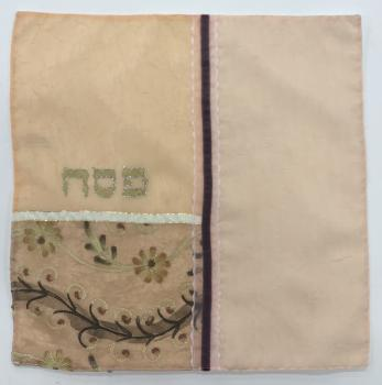 Embroidered Floral Pinks Matza Cover