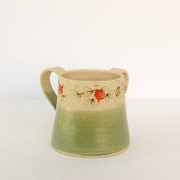 Pomegranate Green Handwashing Cup - Ceramic
