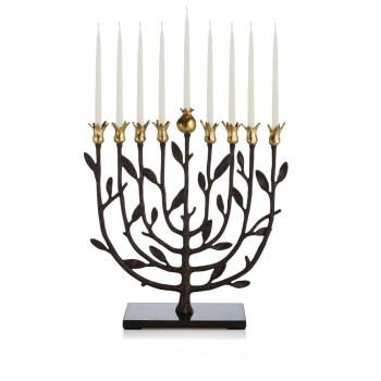 Pomegranate Menorah - Goldtone