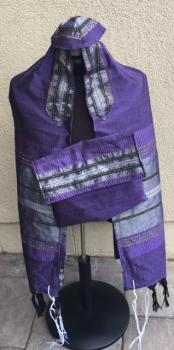 Silk Tallit- Purple with Gray