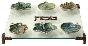 Woodland Leaves Seder Plate - Glass Enameled Pewter