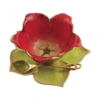 Small Flower Blossom Honey Dish Set, Red and Green