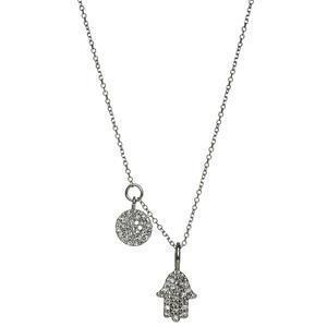 Hamsa Diamond Disk Necklace - Gold