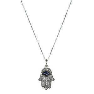 Hamsa with Diamonds and Sapphires - Gold