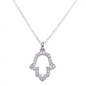 Outline Small CZ Hamsa Necklace - Sterling Silver