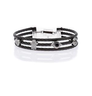 Lucky Protection Triple Cable Bracelet - Stainless Steel