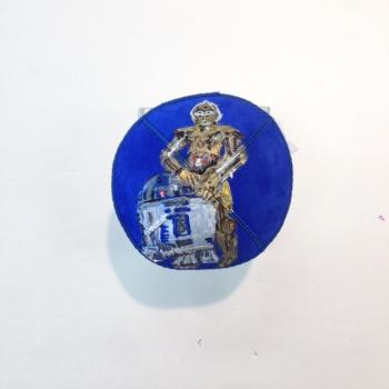 R2D2 and C3PO Kippah - Suede