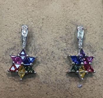 Diamond Star of David Earrings - Genuine Sapphires