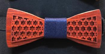 Wooden Bow Tie Red Star of David