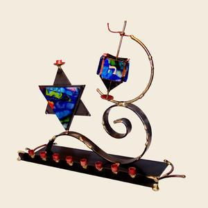 Dreidel Menorah Combo - Glass, Steel, and Copper