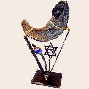 Small Shofar Holder - Glass, Steel, and Copper