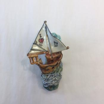 Sail Ship Mezuzah - Painted Porcelain