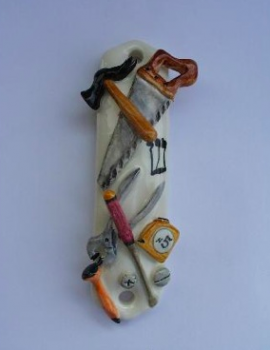 Carpenter Mezuzah - Painted Porcelain