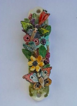Flowers and Butterflies Mezuzah - Painted Porcelain