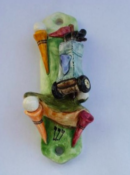Golf Mezuzah - Painted Porcelain